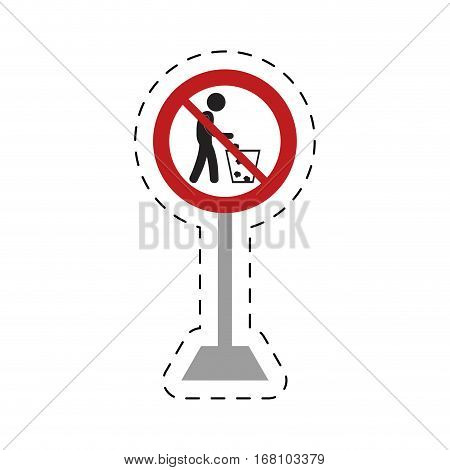 traffic prohibited man throwing trash can vector illustration eps 10