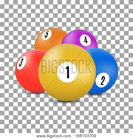 Multicolored balls with numbers for a game of snooker and billiards in 3D style vector illustration.
