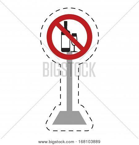 traffic prohibited bottle glass cup drink beverage vector illustration eps 10