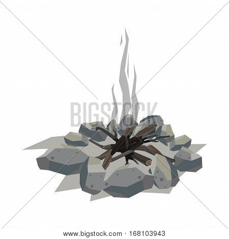 Isolated illustration of campfire logs burning bonfire smoke. Firewood stack on white background. Vector wood explosion glowing nature blazing power.