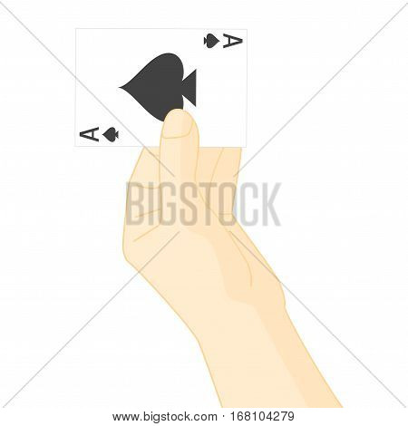 Hand Holding Playing Card Ace of Spades. Leisure in Casino to Win or Lose. Vector illustration