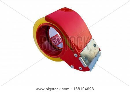 Isolated metal tape cutter on pure white background