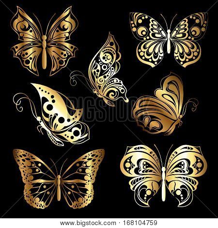 Set of different forms butterflies. Golden silhouettes butterflies on black background. Vector illustration