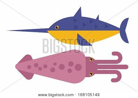 Squid of color design flat with tentacles isolated on white background. Creature floating in water. Inhabitant wildlife of underwater world. Edible sea food. Vector illustration