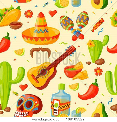 Mexico icons seamless pattern vector illustration. Latino party nachos, taco spesialy food. Traditional graphic travel tequila alcohol fiesta drink. Ethnicity aztec maraca sombrero.
