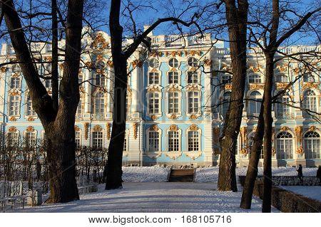 TSARSKOYE SELO (PUSHKIN) RUSSIA - JANUARY 04 2017:Catherine Palace Catherine Park in Pushkin suburb of Saint Petersburg