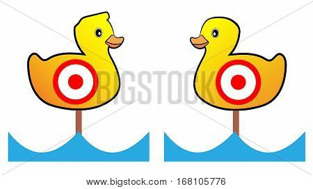 Two Target yellow duck shooting range, vector