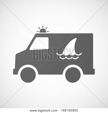 Isolated Ambulance With A Shark Fin