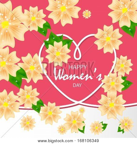 Vector colorful illustration with hearts and flowers on women's day, Valentine's day, mother's day.