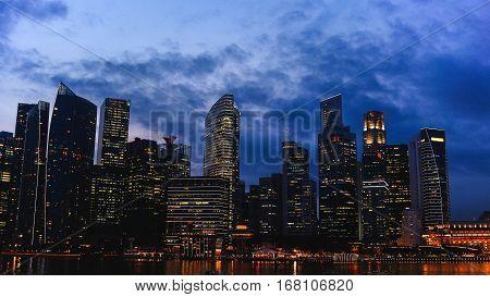 City lights at night. Night metropolis. Lovely evening in the big city. City Lights. Big city life.
