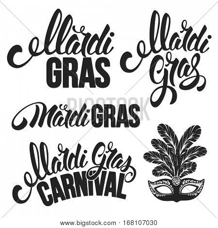 Mardi Gras Carnaval design set. Various Calligraphy inscriptions Mardi Gras. Vector illustration. Isolated on white background.