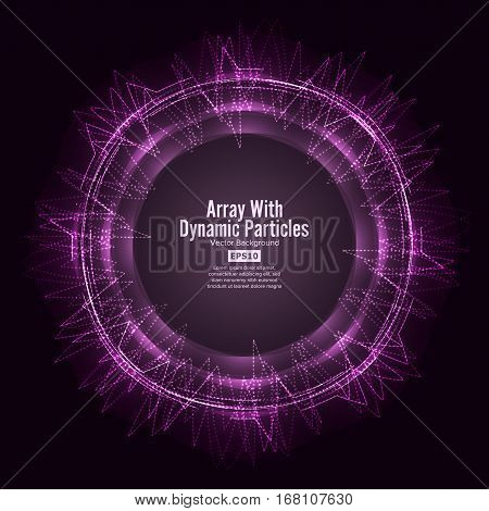 Array Vector With Splash Emitted Particles. Round Dots Array And Lines. Visualization Abstract Background With Swirled Stripes
