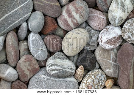 Stone background - pebbles in earth colors