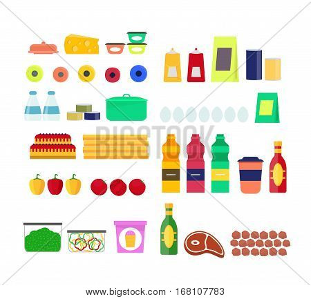 Cartoon Eat or Product Set for Diet, Shop Showcase, Ration Flat Design Style . Vector illustration