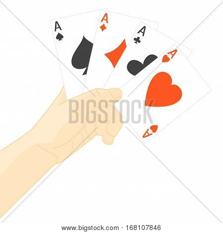 Human Hand Holding Playing Poker Cards. Symbol of Good Luck in Game Four Aces Vector illustration