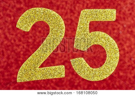 Number twenty-five yellow color over a red background. Anniversary. Horizontal
