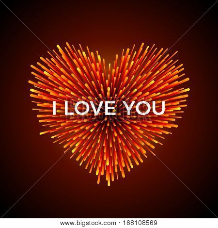 Vector heart shaped firework. Red vivid explosion with I LOVE YOU text on it. Perfect for your greeting card or invitation design.