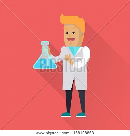 Scientist at work illustration. Vector in flat style design. Scientific icon. Smiling male character in white gown standing with flask in hand. Educational experiment. On red background with shadow