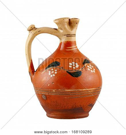 Detail of the old ceramic flagon on white background