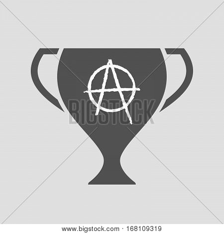 Isolated Award Cup With An Anarchy Sign