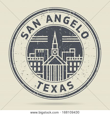 Grunge rubber stamp or label with text San Angelo Texas written inside vector illustration