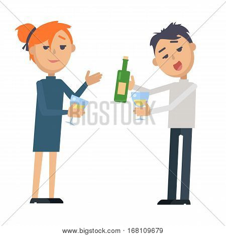 Boy and girl with glass of wine and bottle isolated on white. Coupe want to relax. Man and woman at party. Wine degustation. Valentines day celebration in flat style design. Vector illustration
