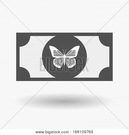 Isolated  Bank Note With A Butterfly