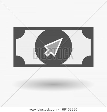 Isolated  Bank Note With A Cursor