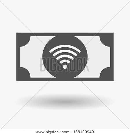 Isolated  Bank Note With A Radio Signal Sign