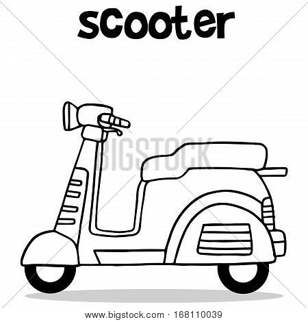 Hand draw of scooter vector collection stock