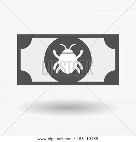 Isolated  Bank Note With A Bug
