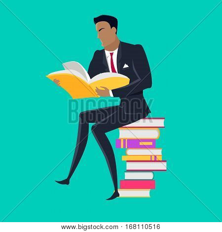 Getting on top of knowledge vector concept. Flat design. Man character in business suit seating on pile of books. Self-education, self development and literature reading concept. On blue background.