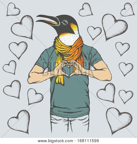 Penguin Valentine day vector concept. Illustration of penguin head on human body. Bird showing heart shape