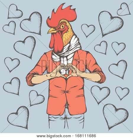 Rooster Valentine day vector concept. Illustration of rooster head on human body. Chicken showing heart shape