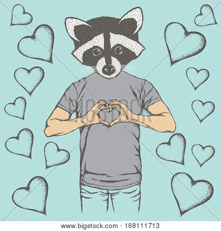 Raccoon Valentine day vector concept. Illustration of raccoon head on human body. Raccoon showing heart shape