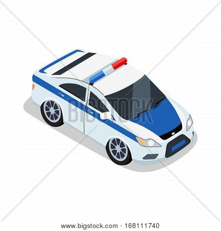 Police car illustration in isometric projection. Emergency car picture for safety concepts, web, applications icons, infographics, logotype design. Isolated on white background.