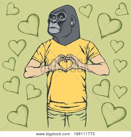 Monkey Valentine day vector concept. Illustration of african gorilla head on human body. Monkey showing heart shape