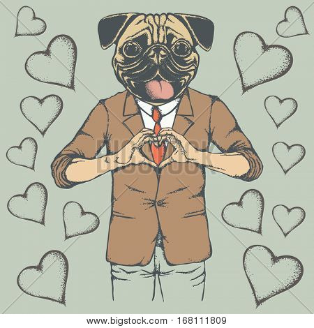 Dog Valentine day vector concept. Illustration of pug head on human body. Dog showing heart shape