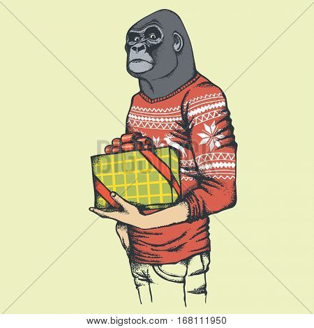 Monkey vector concept. Illustration of African gorilla in human sweatshirt or sweater