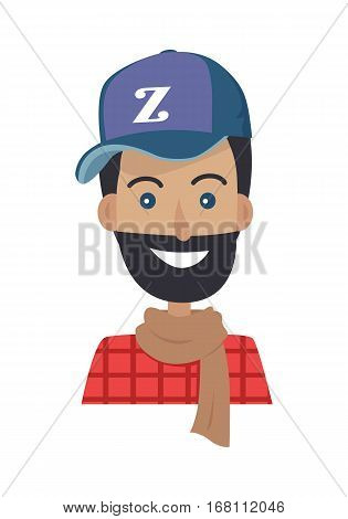 Happy smiling guy in blue hat and brown scarf on white background. Stylish man with beard and blue eyes. Hat with letter Z. Vector face of handsome young boy. Portrait of man. Vector illustration.