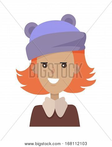 Vector portrait of smiling young pretty woman in blue hat and brown blouse with collar in white background. Red-Haired happy cartoon girl in a funny clothes. Vector illustration. Blue hat with ears.