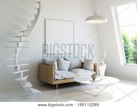 Interior illustration, 3d render of scandinavian style room with sofa and spiral staircase, white blank wall