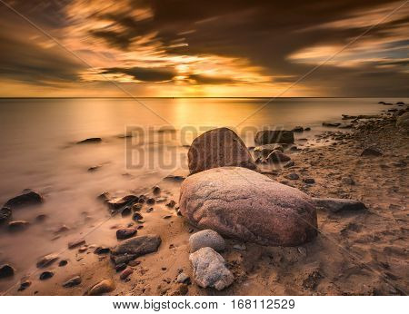 Baltic Rocky Shore In Gdynia, Poland
