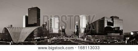 PARIS, FRANCE - MAY 13: Contemporary architecture in la Defense business district on May 13, 2015 in Paris. With the population of 2M, Paris is the capital and most-populous city of France.