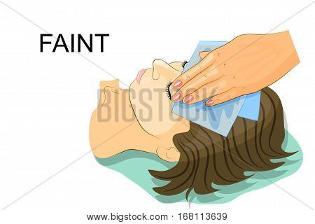 vector illustration of a girl passed out cold wet napkin on her forehead
