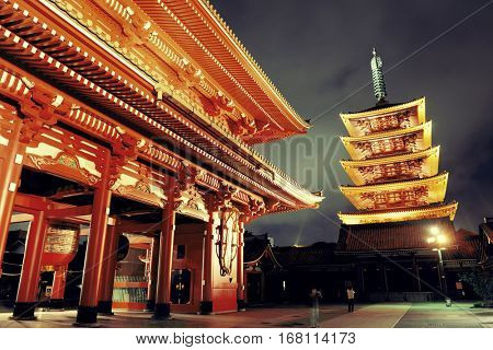 Sensoji Temple in Tokyo Japan at night.