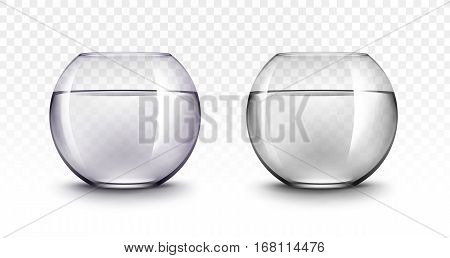 Vector Set of Realistic Violet Black Transparent Shiny Glass Fishbowls Aquariums with Water without Fish Isolated on White Background