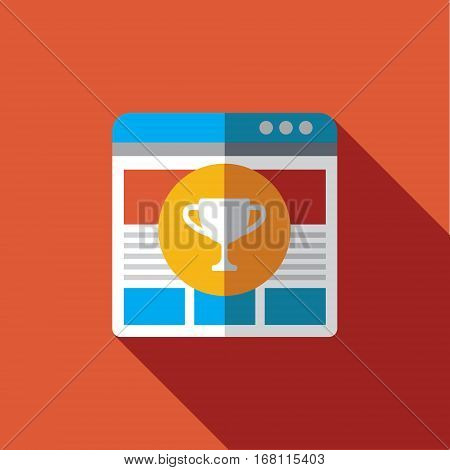 Vector icon or illustration showing web site seo ranking with bowl in circle in flat design style with long shadow