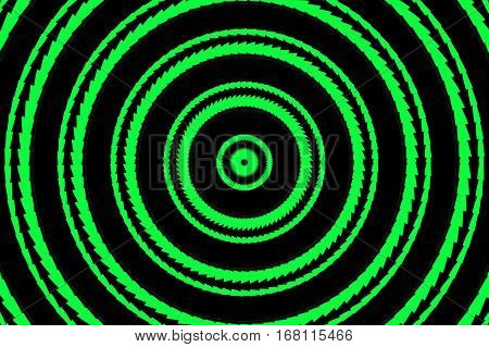 Illustration of abstract green and black concentric circles