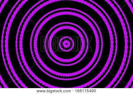 Illustration of abstract purple and black concentric circles